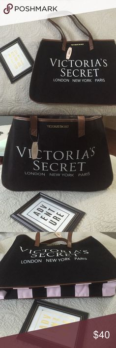 """Victoria's Secret Leather/canvas Tote NWT $85msrp $3.99 shipping This weekend only. Big enough for all of your necessities. Black with pink accents. Leather straps and trim. Durable canvas and retail tag attached. Measures 17.5x11.5x4""""                                     I am an authorized CA Reseller LIC # SR FHA 102-916017  All items ship From CA  3️⃣ FYI: items are posted on 3 other sites as well   All items are Detailed-please read profile for more info   I do NOT hold items ❌NO trades…"""