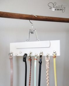 Closet Organization - DIY Belt Hanger  I would probably just put the hooks into a board hung on the wall- more space, and their own place, not mixed in with clothes!