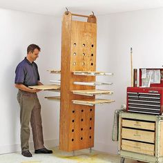 drop down drying rack woodworking plan workshop jigs shop cabinets storage