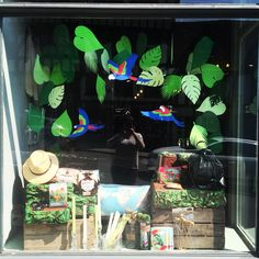 Tropical window display Shrewsbury Bottega Salon Window Display, Boutique Window Displays, Store Displays, Tropical Windows, Decoration Creche, Tropical Christmas, Magic Treehouse, Exhibition Booth Design, Retail Store Design