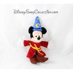 Porte clés peluche Mickey DISNEYLAND PARIS magicien Fantasia chapeau 22 cm