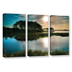 Early Morning On Beach Drive I by Steve Ainsworth 3 Piece Photographic Print on Gallery Wrapped Canvas Set