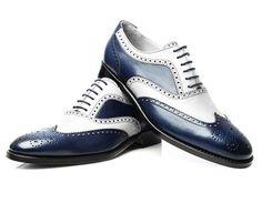 New Handmade Men Navy White Calf Leather Wingtip Brogue Dress Formal Shoes - Dress/Formal