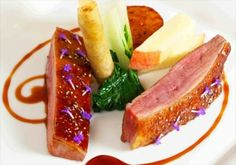 Roast crown of duck, turnip peach, duck croustillant, red wine jus