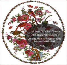 PDF oiseaux et fleurs Latch Hook tapis ou Tenture murale motif graphiques #R23 téléchargement immédiat--copie par la…