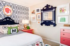 Girl room, love the ombre dresser, gallery wall with mirror
