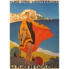 Plage De Calvi, Corse Poster by Roger Broders ($400) ❤ liked on Polyvore featuring home, home decor, wall art, prints, beach home decor, beach home accessories, art deco home decor, beach wall art and beach posters