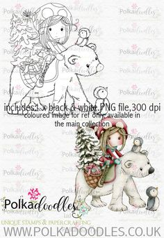 Winnie Winterland - Polar Friends digital craft stamp download - Polkadoodles Ltd