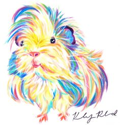Colorful Guinea Pig Acrylic Painting