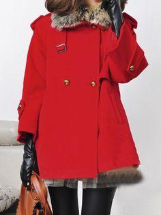 Red Removable Fur Collar Epaulet Cape Coat
