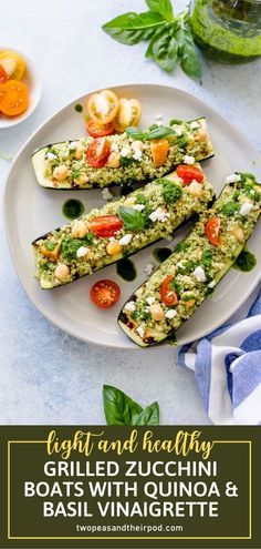 Grilled Zucchini Boats with Quinoa & Basil Vinaigrette are perfect for summer! This gluten-free and vegetarian recipe comes together in no time. Stuffed with healthy goodness, they can be served for lunch, dinner, or alongside any summer meal on your menu. Save this pin! Vegetarian Grilling, Healthy Grilling, Grilling Recipes, Vegetarian Recipes, Healthy Recipes, Healthy Meals, Easy Recipes, Vegetarian Dinners, Barbecue Recipes