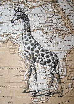 Girafe impression carte Art carte d'Afrique 5 x 7 par CrowBiz Plus