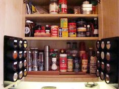 Look! Sue's Maximized Spice Storage  use magnetic boards to stick spices, makeup, anything small on the wall or bookshelf