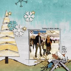 Winter Garden - A digital scrapbook page by Diane.  The digital scrapbooking layout is made using digital scrapbooking kit(s) designed by Kim Jensen Designs, sold at The Lilypad: Winter Solstice Papers + Overlays.