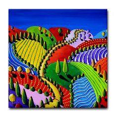 Fun Colorful Folk Art Landscape Tile Coaster