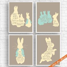 The Tale of Peter Rabbit Quotes - Set of 4 Art Print (Unframed) (Featured in Truffle, Butter and Robin Egg) Peter Pan Prints