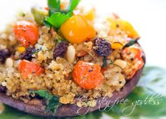 Quinoa stuffed mushrooms are gluten free and vegan