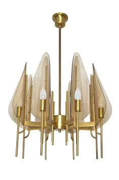 Cristal Arte Brass and Bent Glass Chandelier | From a unique collection of antique and modern chandeliers and pendants at https://www.1stdibs.com/furniture/lighting/chandeliers-pendant-lights/