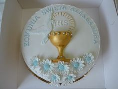 Farewell Cake, First Holy Communion Cake, Religious Cakes, Holy Communion Invitations, Cupcake Cakes, Cupcakes, Christening, Fondant, Catholic