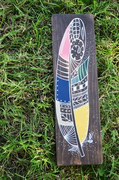 Zentalge Feather Wooden Sign by campfireshop on Etsy