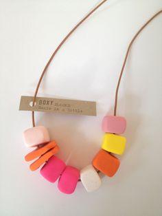 CONFETTI Handmade Bead Fimo Necklace Bright by BoxyJewellery