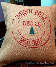 Finished Painted Christmas Pillow Front Porch Mercantile