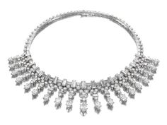 Siegelson Magnificent Platinum and Diamond Necklace, 1948 Van Cleef & Arpels A diamond and platinum necklace with a graduating fringe of nineteen round, baguette, and marquise diamonds suspended from a neck chain of baguette and brilliant-cut diamonds; mounted in platinum with French assay marks; Signed Van Cleef & Arpels and 62268.