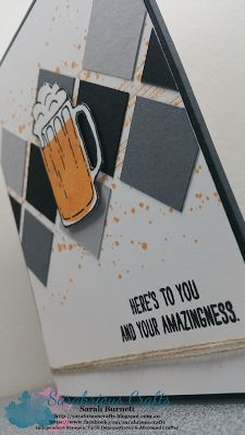 Sarahrious Crafts, mixed drinks, gorgeous grunge, grey, male card, masculine, stampin' Up!