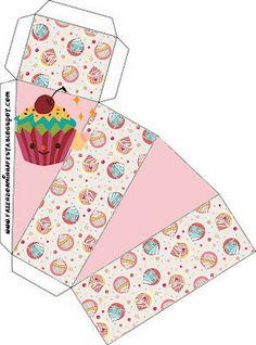 Cupcakes Fofinhos – Kit Completo com molduras para convites, rótulos para guloseimas, lembrancinhas e imagens! |Fazendo a Nossa Festa 3d Templates, Candy Arrangements, Diy And Crafts, Paper Crafts, How To Make An Envelope, Party Sweets, Printable Box, Diy Gift Box, Free Boxes
