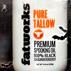 100% Black Cauldron Rendered Premium Spooking Oil. Talloween crafted specially for witches and warlocks and other Paleo and saturated fat lovers. fatworks.com #fatworks #fattitude #talloween #grassfed #tallow #pastureraised  #leaflard #lard #duckfat #paleo #primal #gourmet #crossfit #saturatedfat #grainfree #glutenfree #saturatedsuperheros