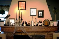 Halloween decorations : IDEAS & INSPIRATIONS potions and brews are inspiration for this mantel