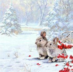 Tiere weihnachten The Macneil Studio Woodland Rabbits - Christmas Scenes, Christmas Animals, Christmas Pictures, Christmas Art, Christmas Squirrel, Winter Christmas, Christmas Decorations, Illustration Noel, Christmas Illustration