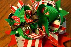 Christmas reindeer hairbow tutorial