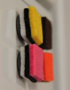 Felted allsorts liquorice magnets Liquorice Allsorts, Neon Party, Wool Felt, Party Themes, Crafty, Brooches, Magnets, Carnival, How To Make