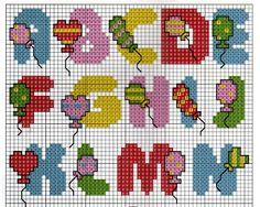 ♥ cross stitch archive ♥: ALPHABET, THE HEART AND BALLOON SCENE CROSS STITCH PATTERN