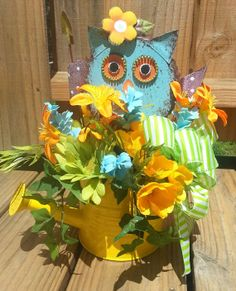 Watering Can Arrangement with Metal Colorful Owl by Azeleapetals, Azelea Petals
