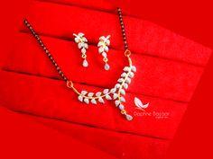 S63, Daphne Zircon Leaf Art Mangalsutra Pendant for Women