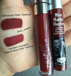 "Colourpop Color ""Avenue"" $6.00 & The Balm Cosmetics Matte Hughes Color ""Adoring"" $17.00 #dupes #dupe #lipsticks #lipstick #lipstickjunkie #colourpopcosmetics #colourpop #thebalmcosmetics #mattehughes"