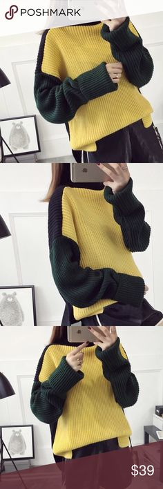 """Turtle neck multi color sweater Material: acrylic and cotton blended Measurement: length: 23 bust: 48-49"""", around, sleeve length-25.5"""" shoulder to shoulder- 25.5"""" Sweaters"""