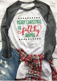 Like this look for our 'plaid' family Christmas picture Christmas Letter Printed Casual T-Shirt