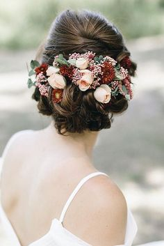 Bride Hairstyles Bridal updo with flowers.Bride Hairstyles Bridal updo with flowers Romantic Bridal Hair, Wedding Hair Flowers, Flowers In Hair, Bridal Updo, Bridesmaid Hair Half Up, Wedding Hair Half, Wedding Bride, Wedding Crowns, Dress Wedding