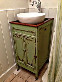This vanity is only about half as wide as the sink, allowing a ...