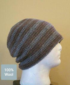bf391de3d89 Men s Crochet Wool Beanie - Men s Gray   Brown Striped Beanie - Fits Adult  M-XL (23