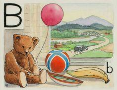 Elsa Beskow: B-björn Elsa Beskow, Vintage Book Art, Alphabet Cards, Book Illustration, Illustrations, Beautiful Drawings, Martini, Images, First Grade