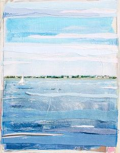 Karin Olah, original fine art paintings with fabric and mixed media | Land & Sea
