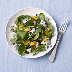 This easy salad of peppery arugula, sweet mango, and pungent blue cheese makes for a delicious lunch that only takes 10 minutes to make. Recipe: Arugula, Mango, and Blue Cheese Salad   - Delish.com