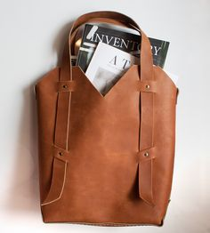 Librarian Leather Tote | Made with sturdy cowhide, this tote is a delightful commuter c... | Tote Handbags