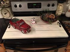 Love my shiplap stove top cover my husband made me! Wooden Stove Top Covers, Wood Working, Camper, Home Appliances, Husband, Farmhouse, Nice, Kitchen, Crafts