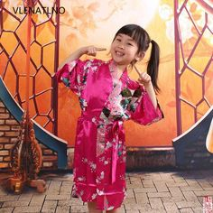 Kids Robe Satin Children Kimono Robes Bridesmaid Flower Girl Dress Silk children's bathrobe Nightgown Kimono Peacock robe #Affiliate
