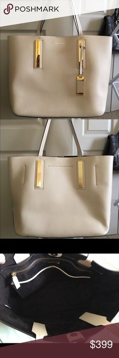 "Jaryn Vanilla Calf Leather Tote Beautiful Tote in excellent condition - only used once - no exterior or interior stains or marks - gold hardware and protective feet - 9"" strap drop - one inside zip pocket and two inside slip pockets - magnetic snap closure - minor scuffing on hardware and feet - from non smoking home - very clean - 100% authentic Michael Kors Bags Totes"